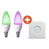 Philips Hue White and Color Ambiance E14 LED Lampenset (2er Pack) + Bridge